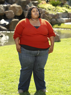 Overweight lady in red