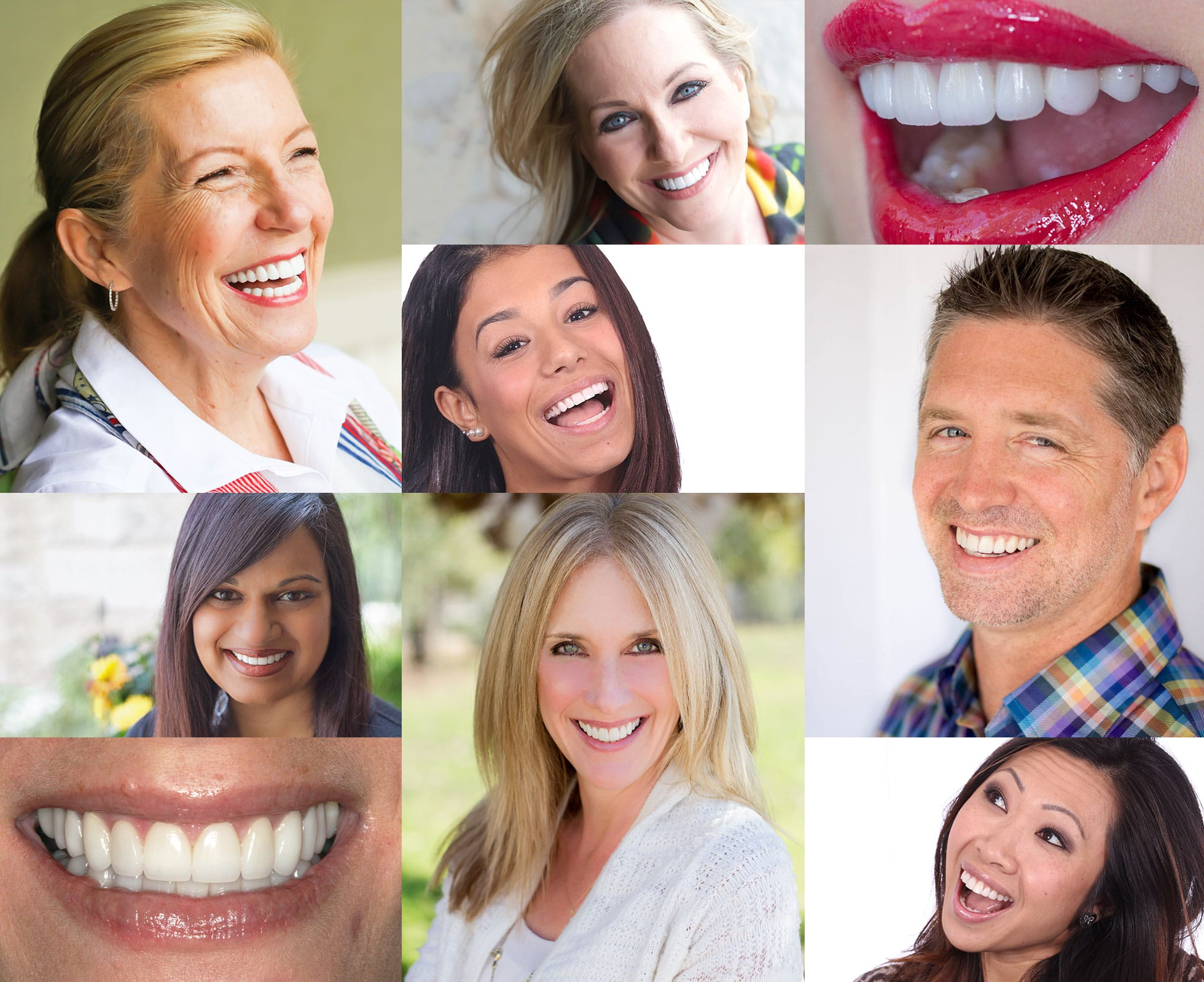 Collage of Many People Smiling